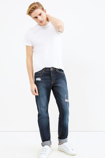 Used-effect jeans with rips and whiskering, Denim, hi-res
