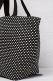 Patterned cotton shoulder bag, Black/Blue, hi-res