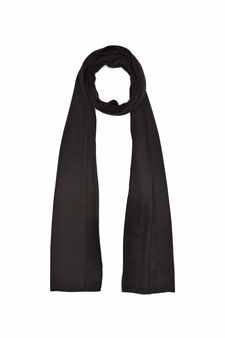 Solid colour fleece scarf, Black, hi-res