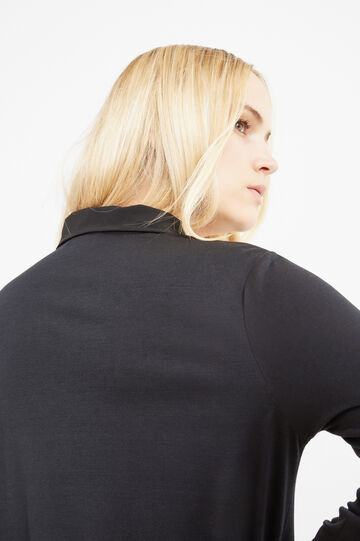 Curvy stretch cotton cardigan with laces, Black, hi-res