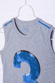 100% cotton printed vest, Grey Marl, hi-res