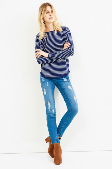 Knitted striped cotton blend pullover, White/Blue, hi-res