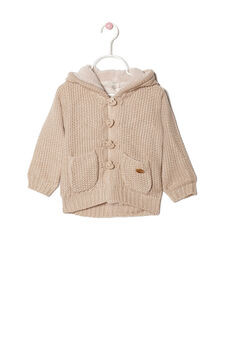 Knitted cardigan with hood, Beige, hi-res
