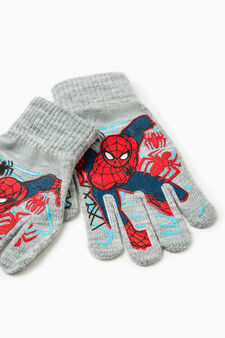 Solid colour gloves with Superman print, Grey, hi-res