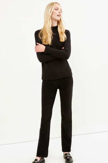 Solid colour stretch velvet trousers, Black, hi-res
