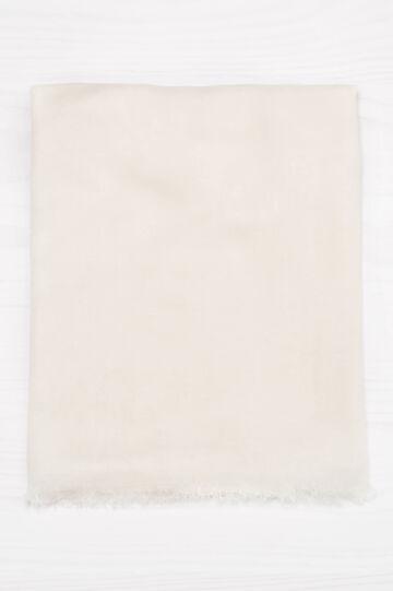 Sciarpa pura viscosa tinta unita, Bianco panna, hi-res
