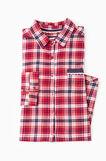 Check cotton nightshirt, Blue/Red, hi-res