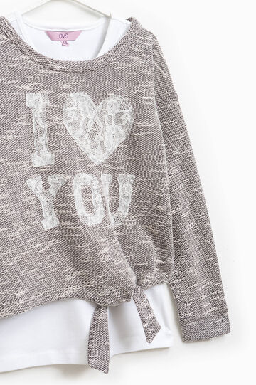 Cotton blend top and sweatshirt set, White/Grey, hi-res