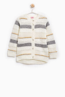 Striped wool blend knitted cardigan, Milky White, hi-res