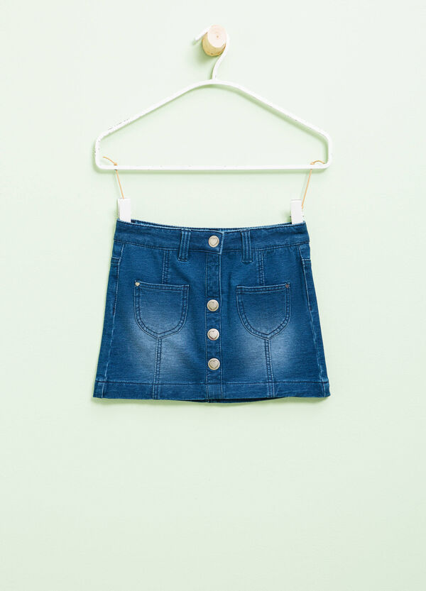 Stretch denim skirt with buttons | OVS