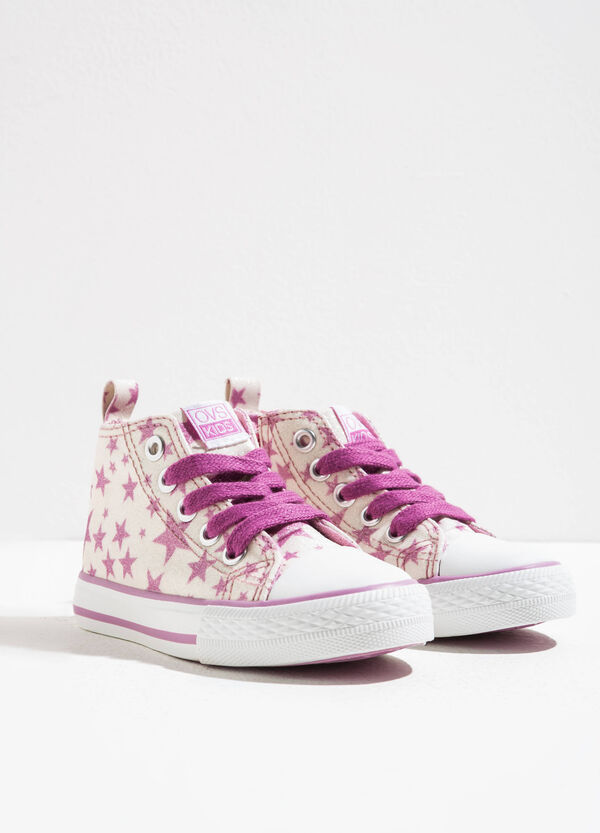 High-top glitter sneakers with star pattern | OVS