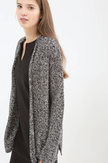 Cardigan with buttonless opening, Black/White, hi-res