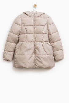 Solid colour down jacket with hood, Beige, hi-res