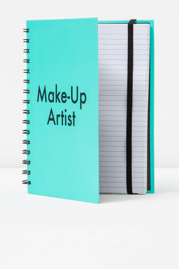 Printed spiral ring notebook with lined pages, Aqua Green, hi-res