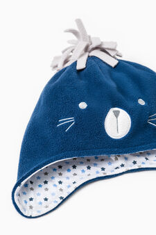 Hat and mittens set with pompom, Blue/Grey, hi-res