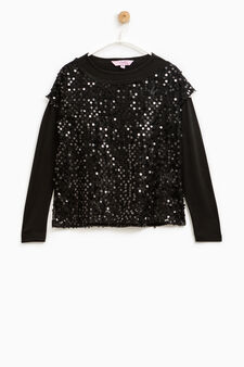 T-shirt in cotton with sequins and lace, Black, hi-res