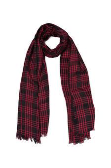 Tartan scarf with fringe, Black/Red, hi-res