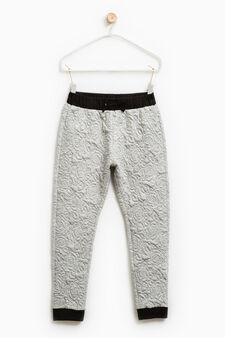 Pantaloni cotone trama floreale, Grigio melange, hi-res
