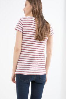 V-neck cotton T-shirt, White/Red, hi-res