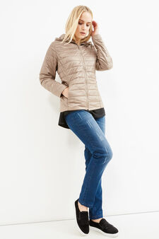 Curvy down jacket with hood, Beige, hi-res