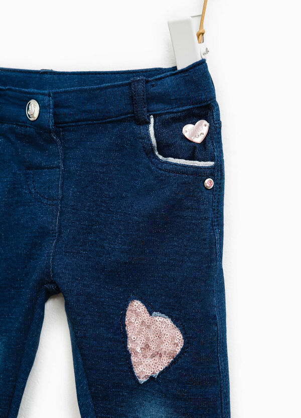Pantaloni in cotone stretch con paillettes | OVS