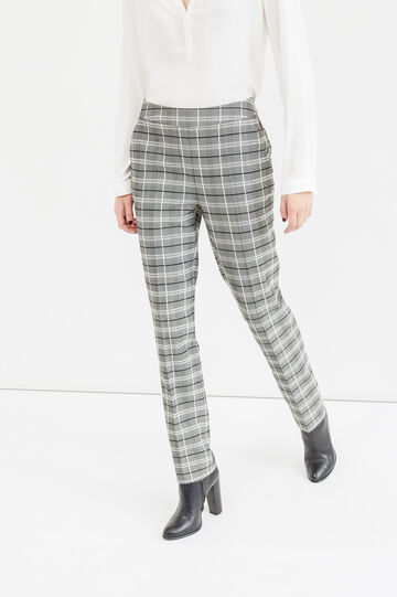 High-waisted check trousers, White/Grey, hi-res