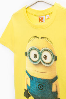 Cotton T-shirt with Minions print, Lemon Yellow, hi-res