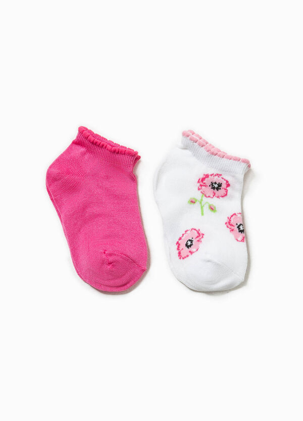 Two-pair pack floral embroidered socks | OVS