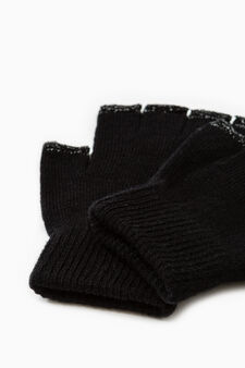 Fingerless gloves with contrasting piping, Gunmetal, hi-res