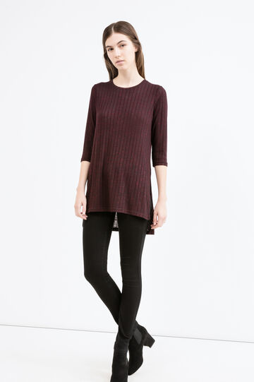 Ribbed T-shirt with three-quarter sleeves, Aubergine, hi-res