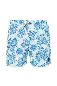 Patterned swim boxer shorts by Maui and Sons, Light Blue, hi-res