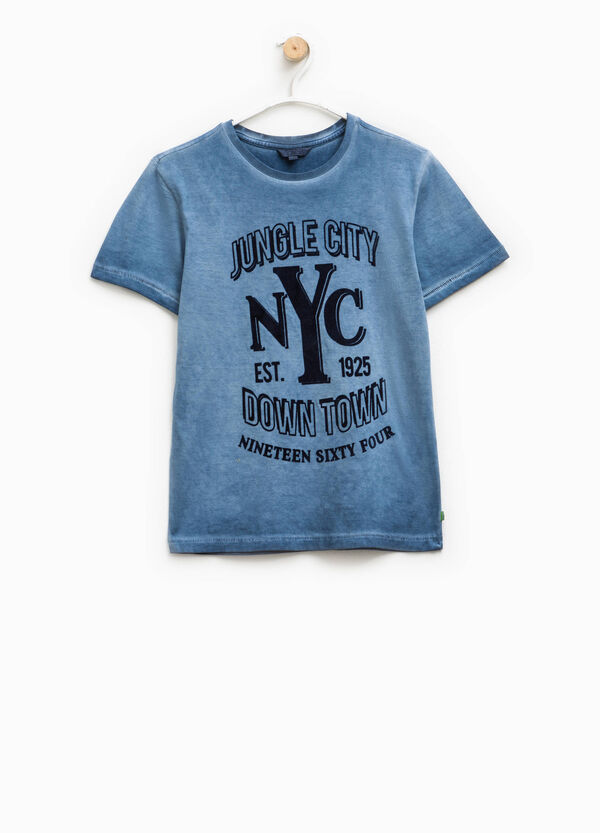 Washed-effect T-shirt with lettering print | OVS