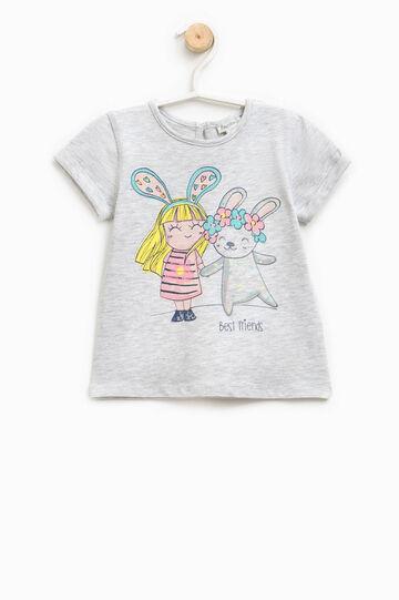 Cotton T-shirt with glitter print, Grey Marl, hi-res