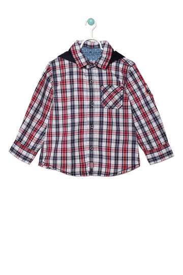 Camicia puro cotone a quadri, Blu/rosso, hi-res