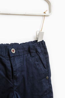 Trousers with false pockets on the knees, Navy Blue, hi-res