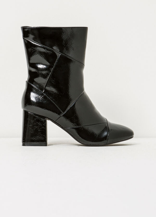 Solid colour shiny ankle boots with zip | OVS