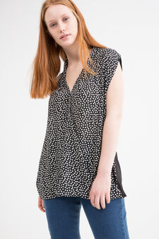 Curvy patterned sleeveless blouse, Black/White, hi-res