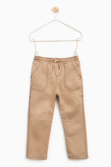 Cotton blend joggers with drawstring, Beige, hi-res