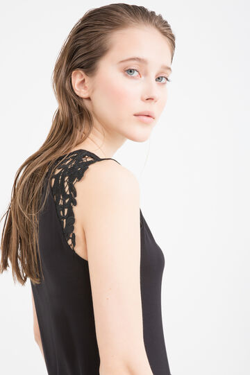 Viscose top with lace, Black, hi-res