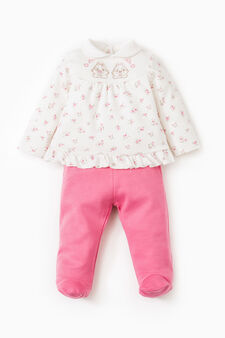 Polo shirt and patterned baby leggings set, Fuchsia, hi-res
