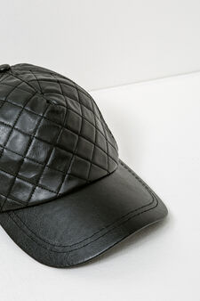 Baseball cap with stitching, Black, hi-res