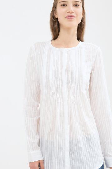 Blusa puro cotone tinta unita, Bianco, hi-res