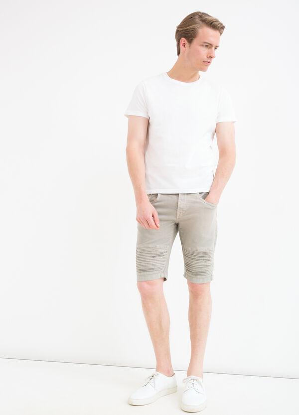 Stretch denim Bermuda shorts with inserts | OVS