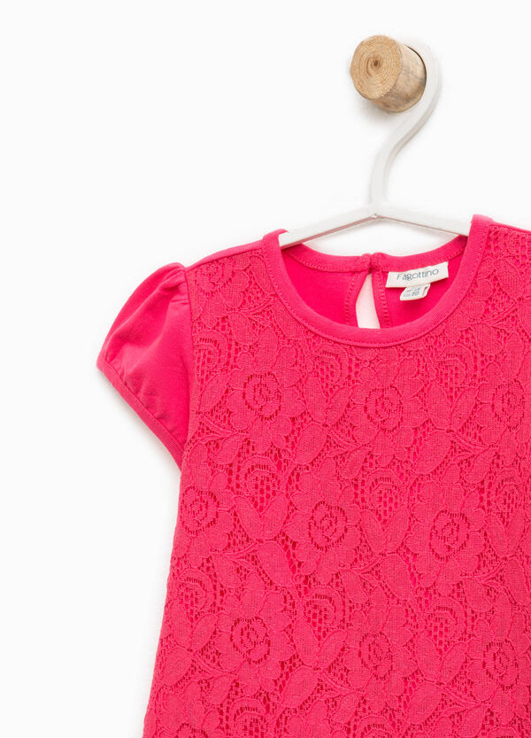 Stretch cotton T-shirt with lace | OVS
