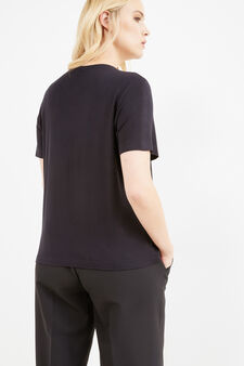 Curvy T-shirt in stretch viscose with laces, Black, hi-res