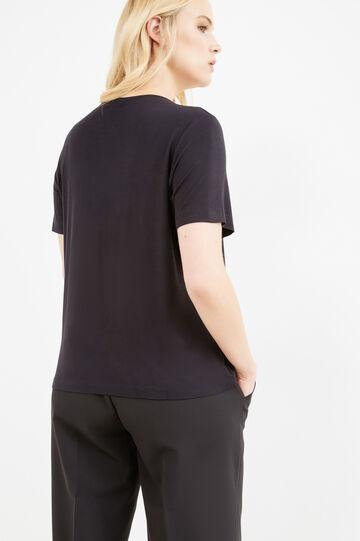 T-shirt viscosa stretch con lacci Curvy, Nero, hi-res
