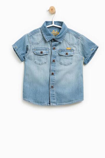 Denim shirt with short sleeves, Denim, hi-res