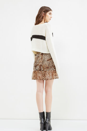 Cropped knitted pullover with embroidery, White/Black, hi-res