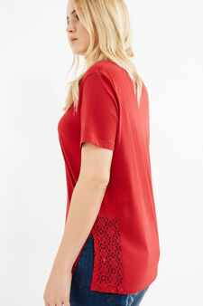 Curvy cotton T-shirt with slits and lace, Red, hi-res