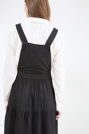 Long pinafore dress in viscose blend., Black, hi-res